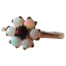 10k Rosette Ring w Shimmering Opals & Garnet Center
