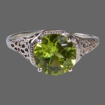 10k White Gold Filigree Peridot Ring