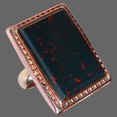 14k Rose Gold & 10k Yellow Gold Large Bloodstone Ring