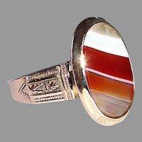14k Rose Gold Victorian Banded Agate Ring
