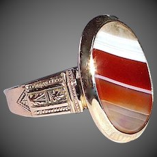 14k Rose Gold Victorian Banded Agate Ring