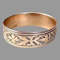14k Rose Gold Victorian Cigar Band Ring w Geometric Pattern & Cartouche