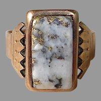 Victorian 14k Rose Gold Ring 24kt Gold in Quartz Cabochon