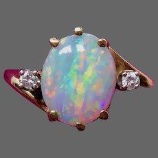 14k Vibrant Crystal Opal Bypass Ring w Diamonds