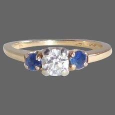 14k Sapphire & Diamond Yellow Gold Ring