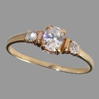 Petite 14k Child's or Pinky Ring w 3 Clear Gemstones