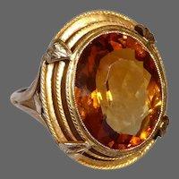 14k Edwardian Madeira Citrine Ring