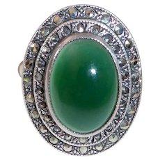 Art Deco Uncas Sterling Marcasite & Chrysoprase Ring