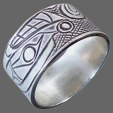 Rare Handcrafted Sterling Band Ring Unusual Inuit Ethnic Designs