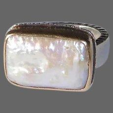 Judith Jack Sterling Ring w Natural Pearl 14k Bezel