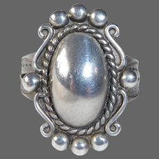 Native American Bell Trading Co Sterling Ring w 'Silver Pearl'