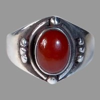 Sterling & Carnelian Band Ring w Beads