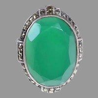Art Deco Sterling & Chrysoprase Ring Sparkling Marcasite Halo