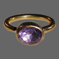 Vintage Gold Plated Sterling & Amethyst Ring