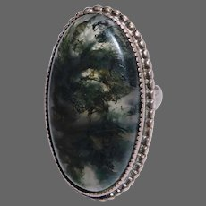 Sterling Large Moss Agate Split Band Ring