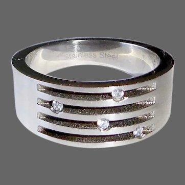 Modernist Stainless Steel Ring w Diamonds