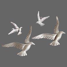 Beau Sterling Set Seagull Scatter Pins & Earrings