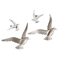Beau Sterling Set Seagull Scatter Pins & Earrings