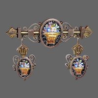 Victorian Mosaic Floral Basket Pin & Earrings Set Etruscan Revival Style