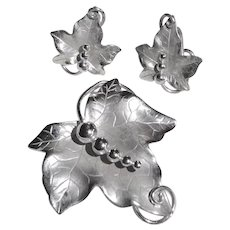 Carl Art Co. Sterling Sculptural Leaf Pin & Earrings Set