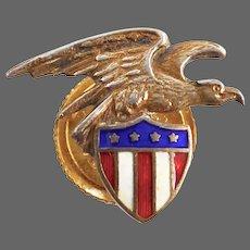 Sterling Eagle & Flag Four Star Patriotic Enameled Lapel Stud