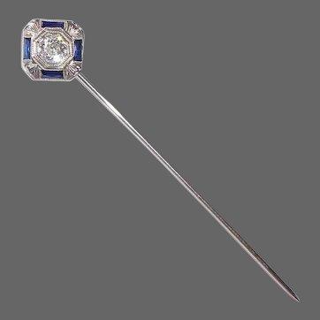 Art Deco 18k White Gold Diamond & Sapphire Stickpin
