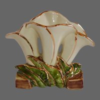 McCoy USA Triple Lily Vase 23k w Gilt Accents