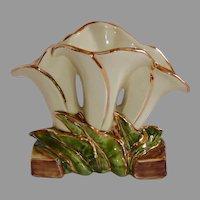 McCoy USA Triple Lily Vase 23k w Gilt Accents