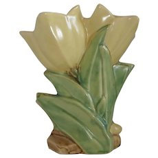 McCoy Matte Glaze Yellow Double Tulip Vase