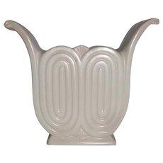 Art Deco Redwing Matte White Glaze w Aqua Interior