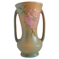 Weller Wild Rose Tall Double Handle Vase c1930s