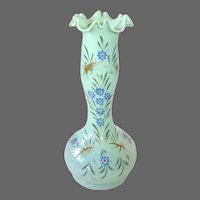 Seafoam Green Hand Blown Opaline Glass Vase w Hand Painted Enamel Design
