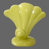 Redwing Pottery Vibrant Chartreuse Ceramic Shell Form Vase