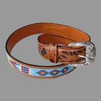 Tony Lama Tooled & Beaded Cowhide Leather Belt