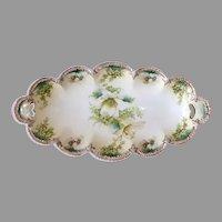 Easter Lily & Floral Motif Bavarian Low Oval Serving Bowl or Bonbon
