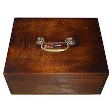 Black Walnut Early Dovetailed Collection Lock Box w Key & Original Brass Hardware
