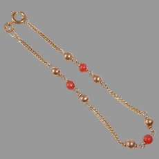 18k Yellow Gold Chain Bracelet w Coral & Gold Beads