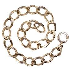 Edwardian Gold Filled Embossed Oval Link Bracelet