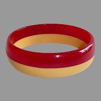 Cherry Red & Creamed Corn Laminated Bakelite Bangle Bracelet