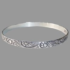 Danecraft Sterling Embossed Paisley Patterned Bangle Bracelet