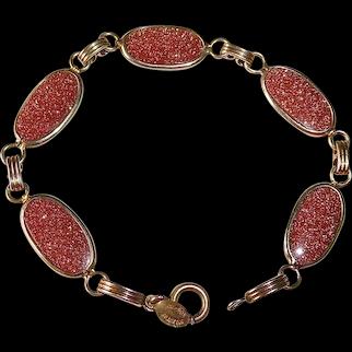 Mid Century Gold Filled Sparkling Goldstone Link Bracelet