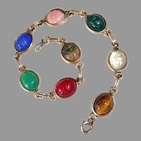 Egyptian Revival 8 Stone Scarab Bracelet