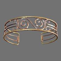 Krementz Gold Filled Geometric Deco Design Cuff Bracelet