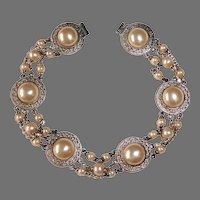 Edwardian Sterling Filigree Glass Pearl Bracelet