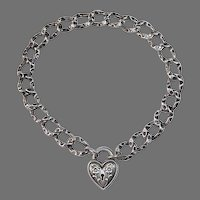 Antique Victorian Sterling Sweetheart Repousse Heart Lock Curb Chain Bracelet