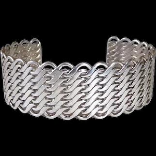 Flattened Sterling Chain Industrial Design Wide Cuff Bracelet