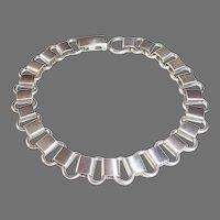 Oval Link Satin Sterling Chain Bracelet or Starter Charm