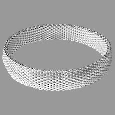 Sterling Flexible Mesh Wide Bangle Bracelet