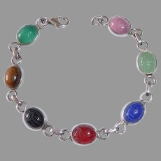 Egyptian Revival Sterling Gemstone Scarab Bracelet