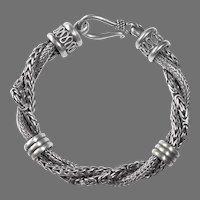 Ethnic Sterling Heavy Triple Twisted Chain Bracelet